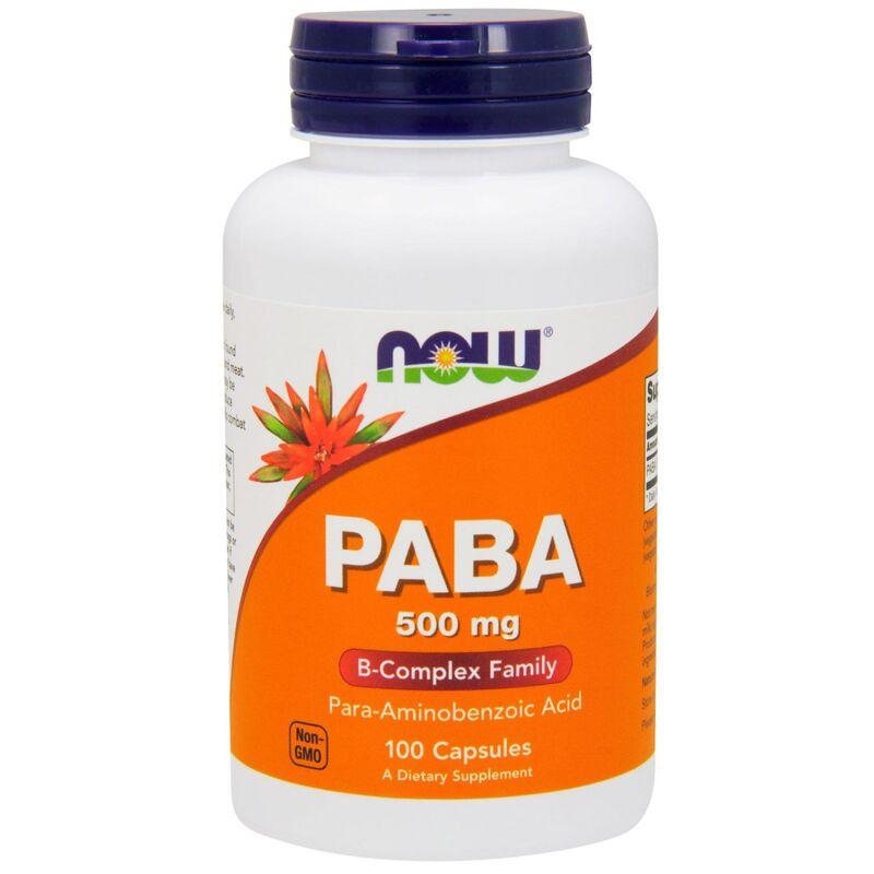 ПАБК (пара-аминобензойная кислота), PABA (Витамин В10), Now Foods, 500 мг, 100 капсул