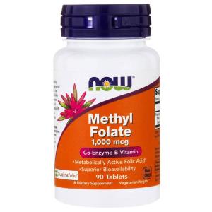 Фолиевая кислота, метилированная, Methyl Folate, Now Foods, 1000 мкг, 90 таблеток