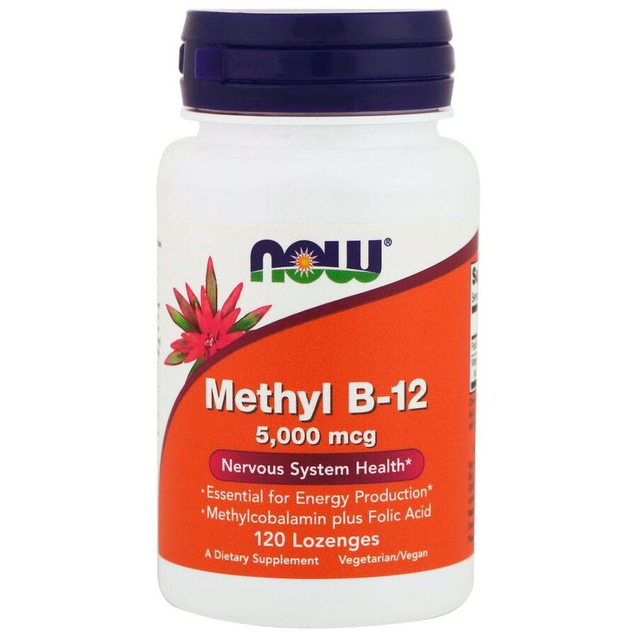 Витамин В12, Methyl B-12, Now Foods, 5000 мкг, 120 леденцов