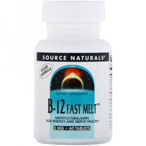Витамин В12 (метилкобаламин), Source Naturals, 60 таб.