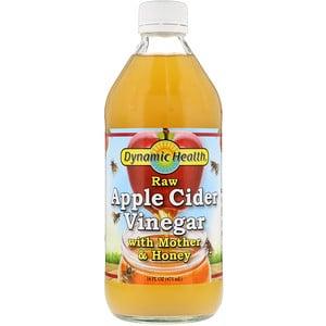 Dynamic Health Laboratories, Необработанный органический яблочный уксус с  медом, 473 мл