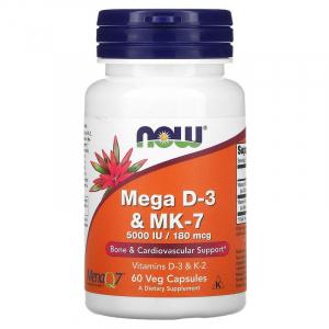 Витамин Д3 и МК-7, Mega D-3 & MK-7, Now Foods, 5000 МЕ / 180 мкг, 60 капсул