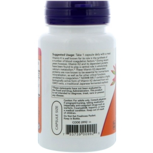 Витамин К2, МК-7 Vitamin K-2, Now Foods, 100 мкг, 60 капсул