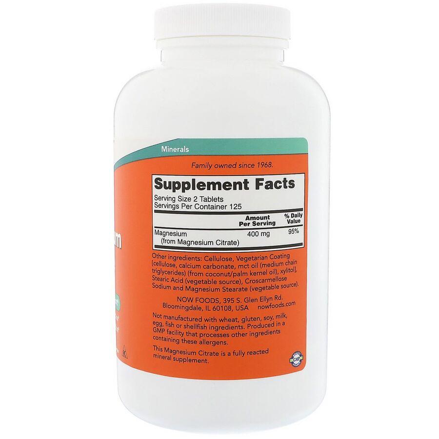 Цитрат магния, Magnesium Citrate, Now Foods, 200 мг, 250 таблеток