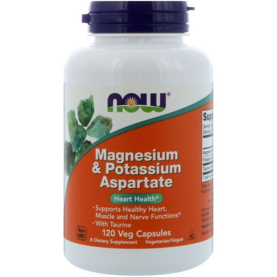Магний и калий аспартат, Magnesium & Potassium Aspartate, Now Foods, 120 капсул