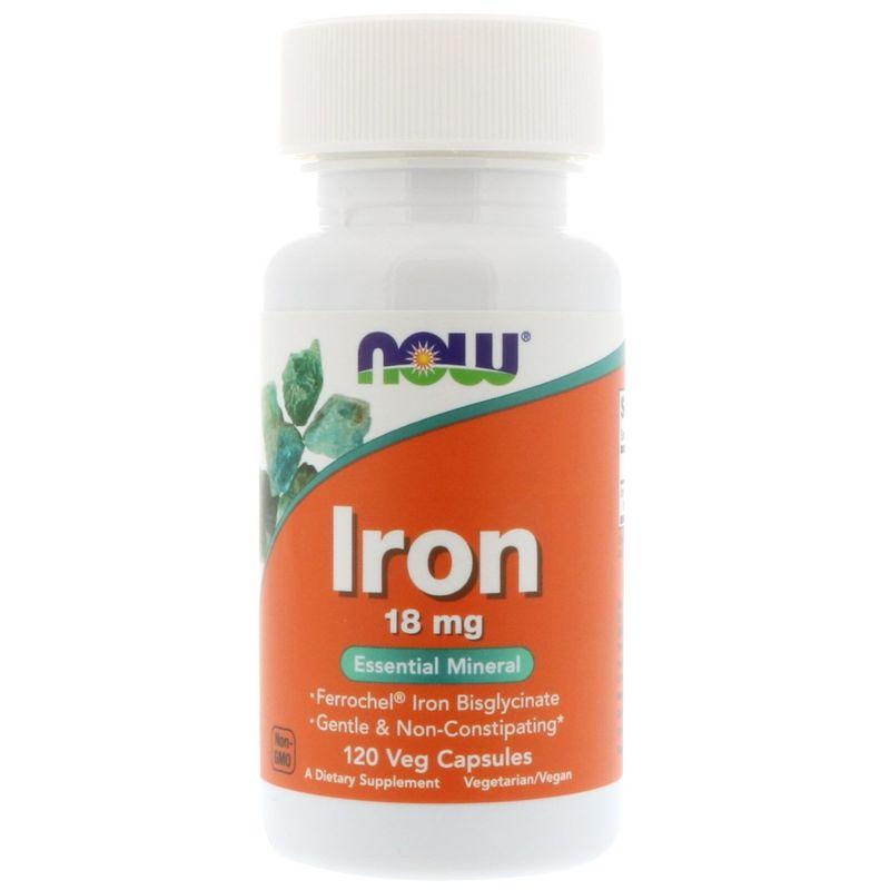 Железо, Iron, Now Foods, 18 мг, 120 капсул