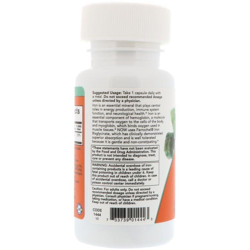 Железо, Iron, Now Foods, 36 мг, 90 капсул