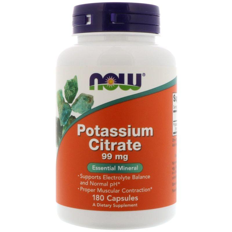 Калий цитрат, Potassium Citrate, Now Foods, 99 мг, 180 капсул