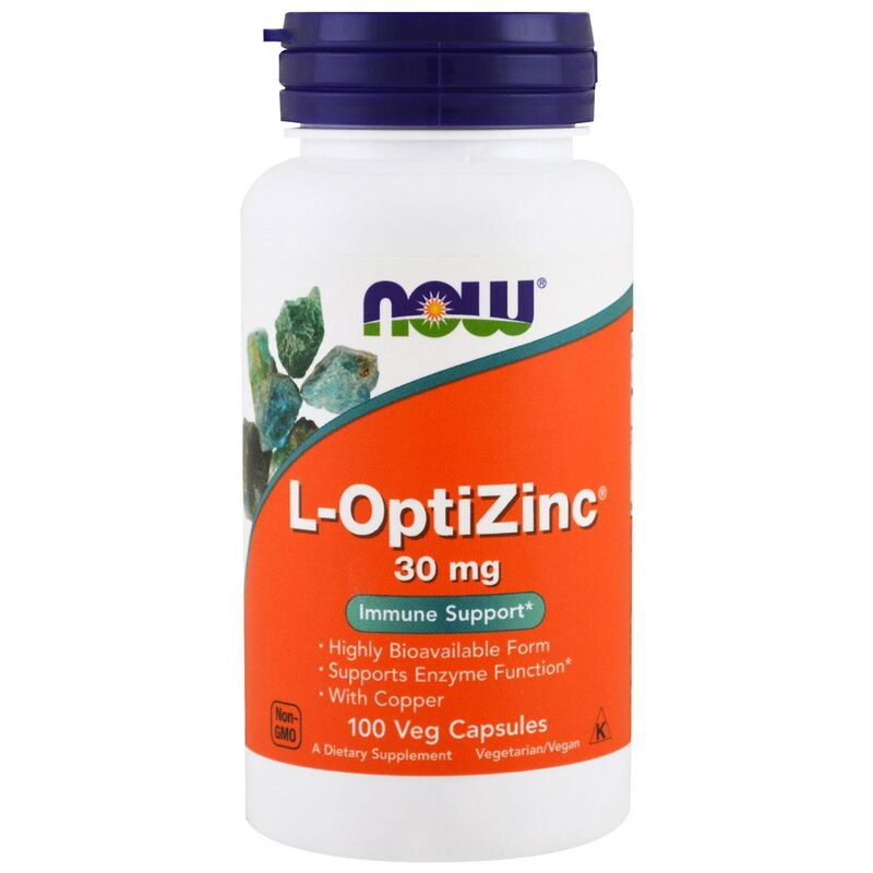ОптиЦинк, L-OptiZinc, Now Foods, 30 мг, 100 капсул