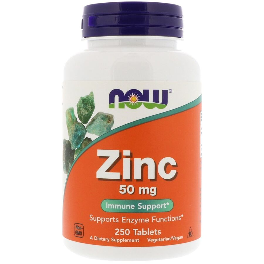 Цинк в таблетках, Zinc, Now Foods, 50 мг.