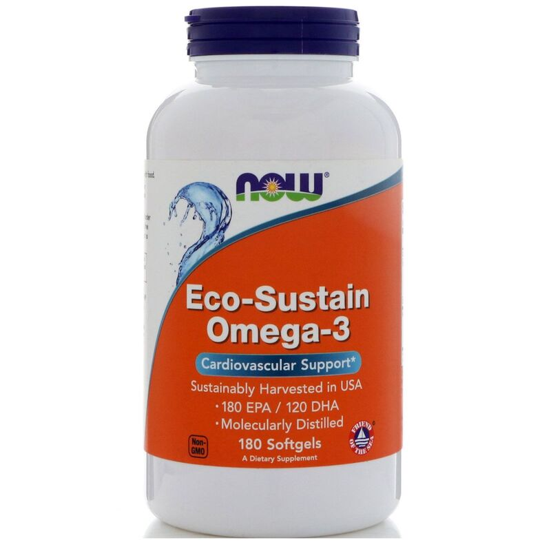 Омега 3, Eco-Sustain, Omega-3, Now Foods, 180 капсул