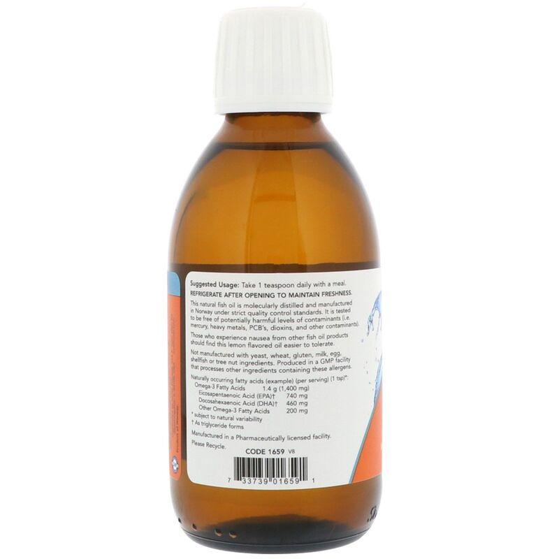 Рыбий жир жидкий, Omega-3 Fish Oil, Now Foods, лимон, 200 мл.