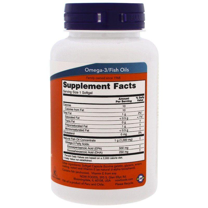 Ультра омега 3, Omega-3, Now Foods, 500 EPA/250 DHA