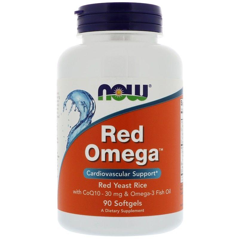 Красный дрожжевой рис, омега, Q10 (Omega, Red Yeast Rice), Now Foods, 90 капсул
