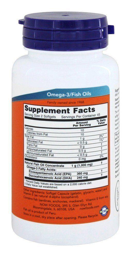 Рыбий жир, Омега-3, Now Foods, мини капсулы
