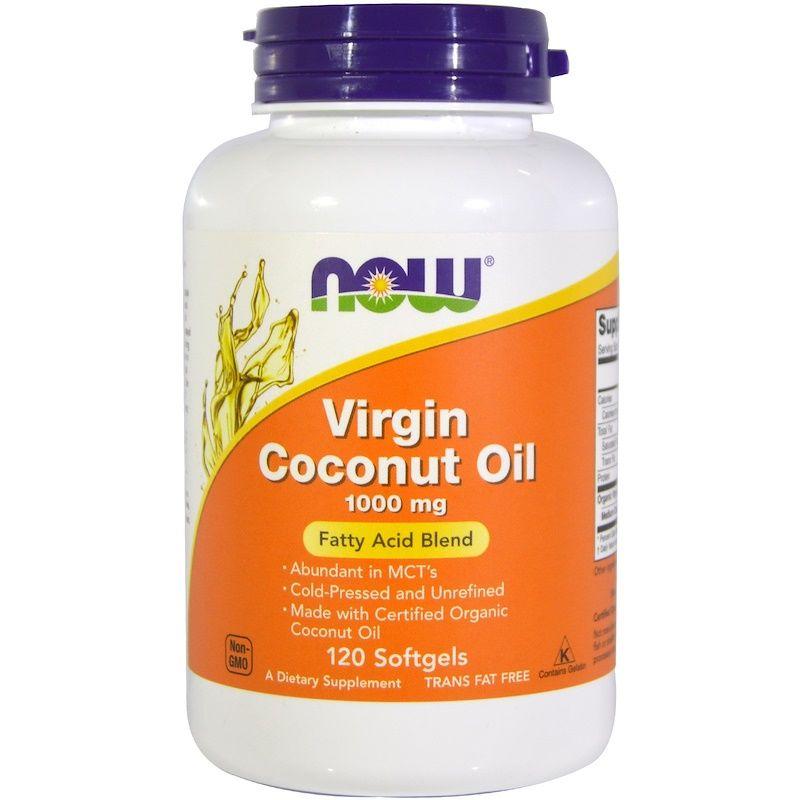 Кокосовое масло, Coconut Oil, Now Foods, органик, 1000 мг, 120 капсул