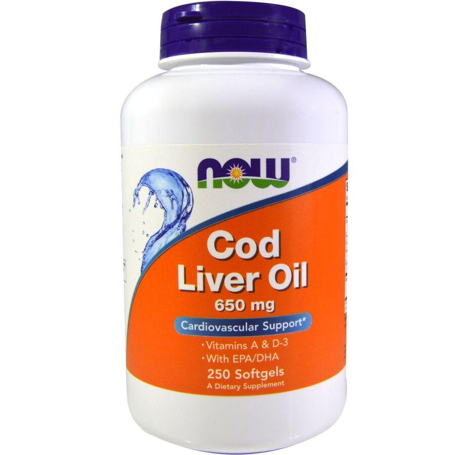 Рыбий жир из печени трески, Cod Liver Oil, Now Foods, 650 мг, 250 капсул