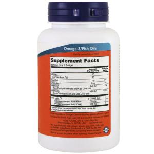 Рыбий жир из печени трески, Cod Liver Oil, Now Foods, 1000 мг, 90 капсул