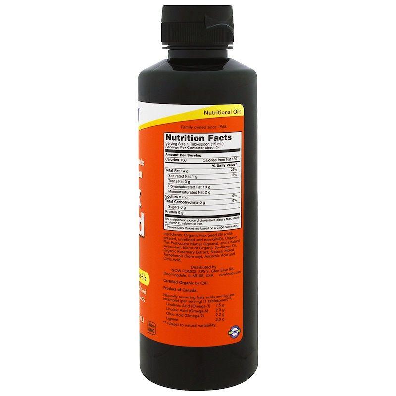 Льняное масло, Flax Seed Oil, Now Foods, лигнан, органик, 355 мл
