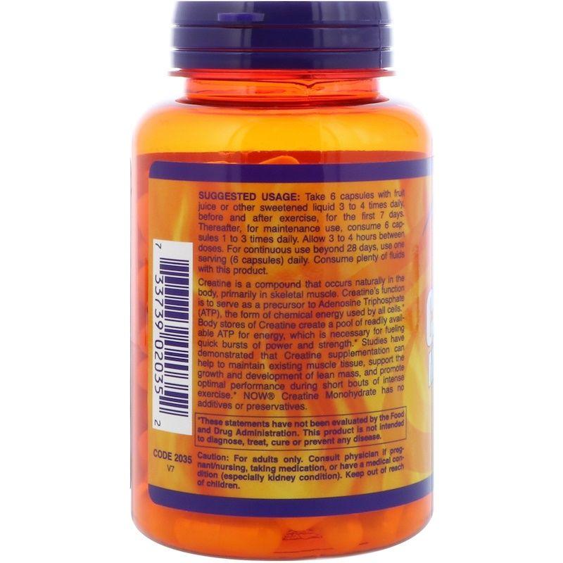 Креатин, Creatine Monohydrate, Now Food, Sports, 750 мг, 120 капсул