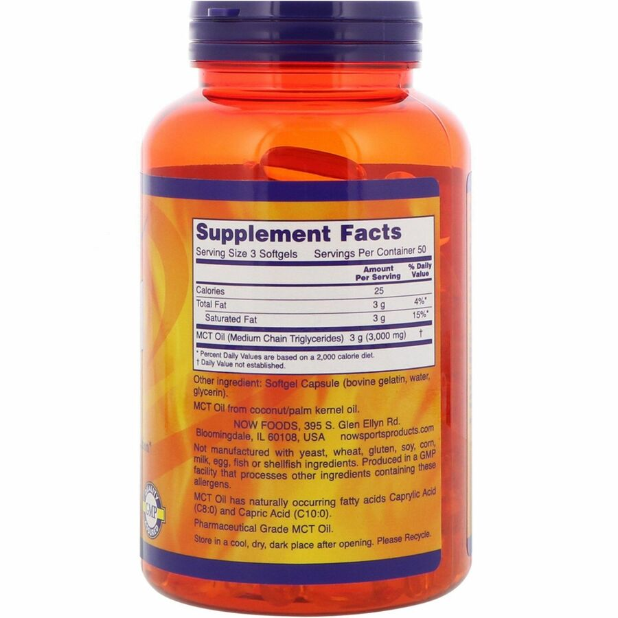 Масло МСТ, MCT Oil, Now Foods, Sports, 1000 мг, 150 капсул