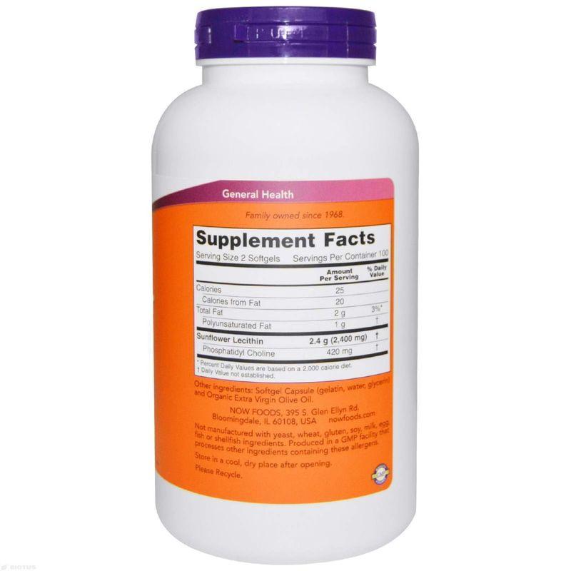 Подсолнечный лецитин, Now Foods,  1200 мг