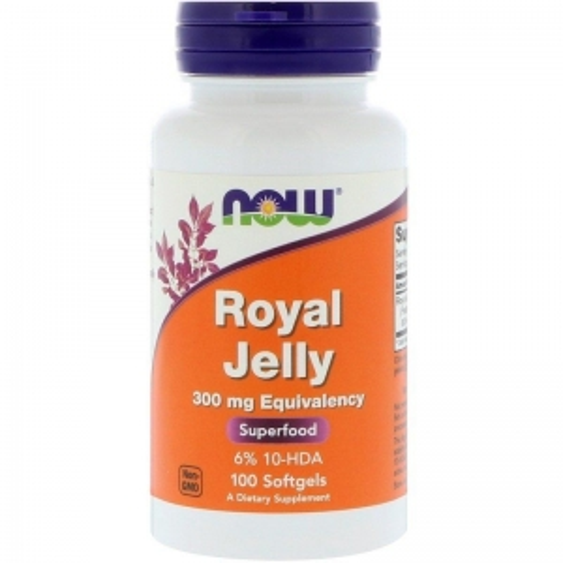 Маточное молочко 300 мг, Royal Jelly, Now Foods, 100 гелевых капсул