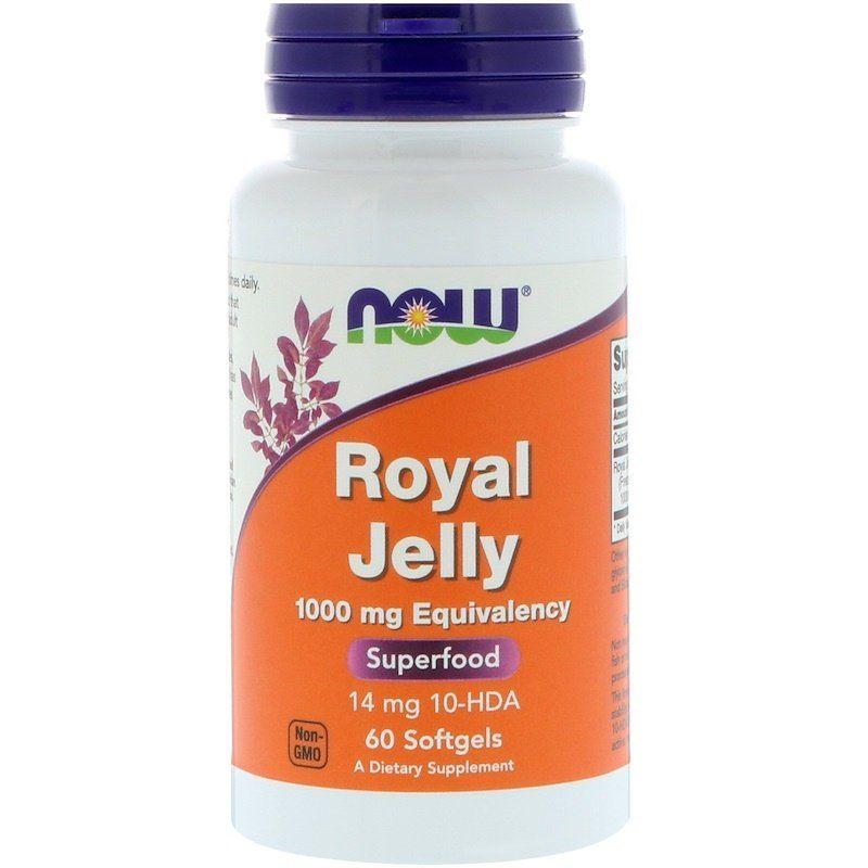 Маточное молочко, Royal Jelly, Now Foods, 1000 мг, 60 гелевых капсул