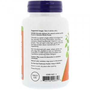 Хлорелла (Chlorella), Now Foods, органик, 500 мг, 200 таблеток
