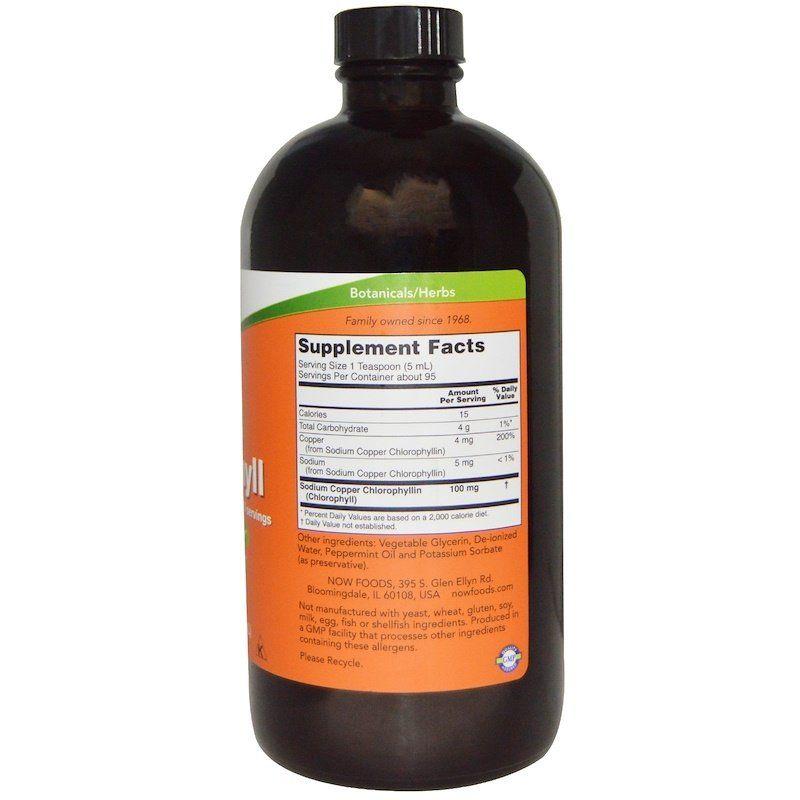Хлорофилл жидкий с мятным вкусом, Liquid Chlorophyll, Now Foods, 473 мл.