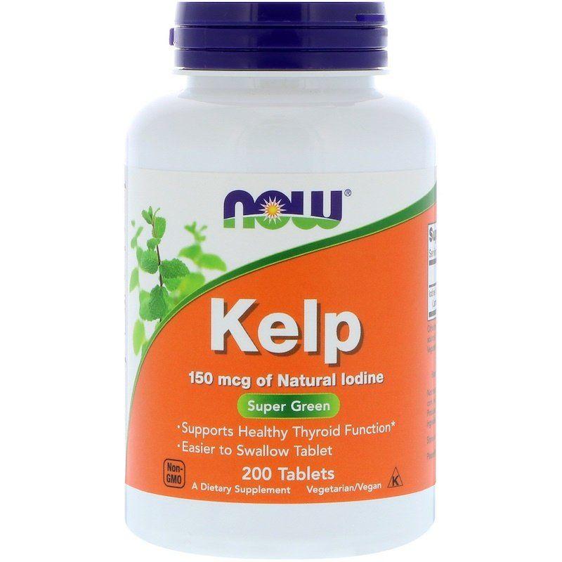Ламинария, Йод, Kelp, Now Foods, 150 мкг, 200 таблеток