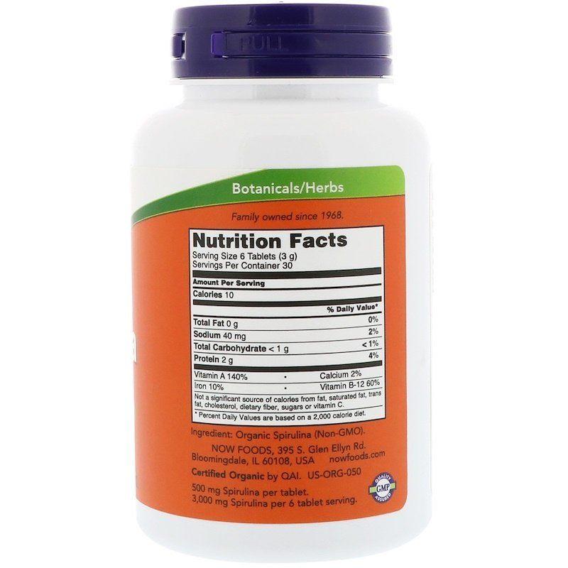 Спирулина, Spirulina, Now Foods, органик, 500 мг
