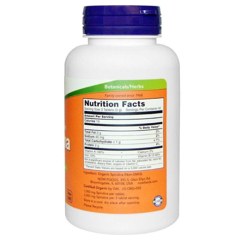 Спирулина сертифицированная органическая, Spirulina, Now Foods, 1000 мг, 120 таблеток