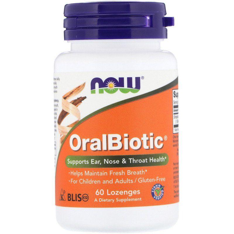 Пробиотики, OralBiotic, Now Foods, 60 таблеток для рассасывания
