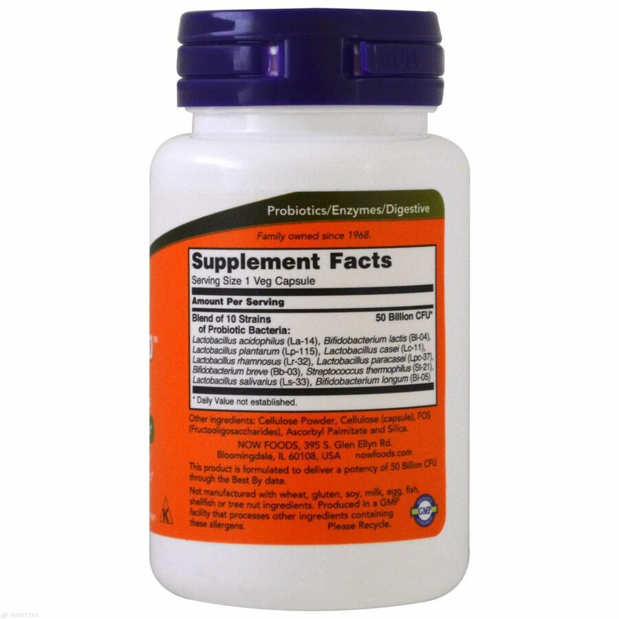 Пробиотик-10, Probiotic 50 Billion, Now Foods, 50 капсул