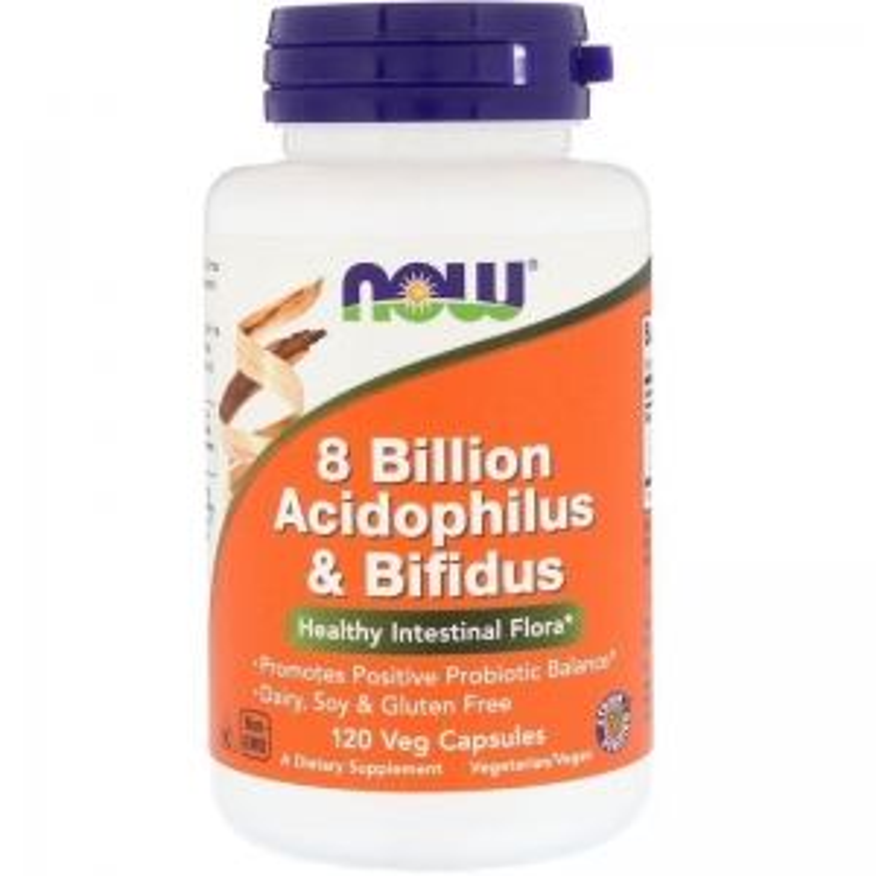 Пробиотики, Acidophilus & Bifidus, Now Foods, 8 млрд КОЭ, 120 капсул