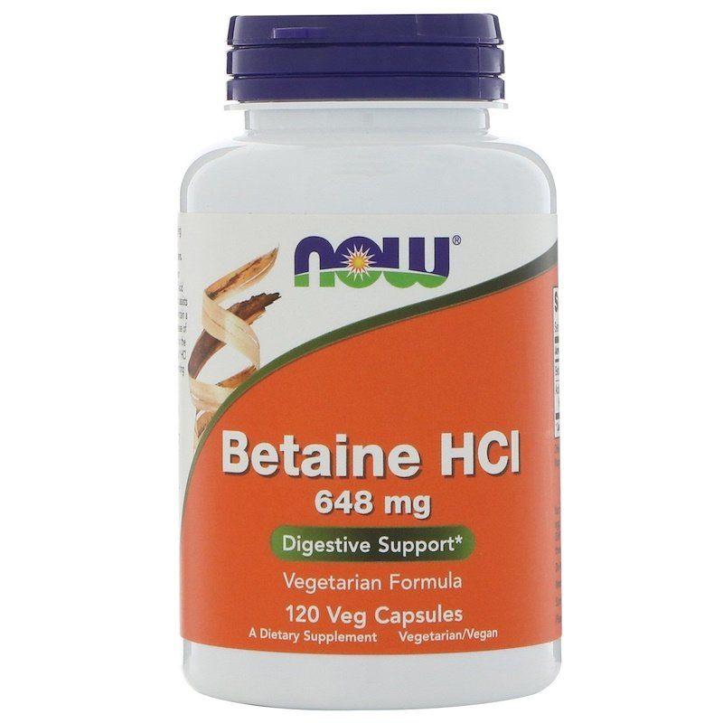 Бетаин гидрохлорид, Betaine HCL, Now Foods, 648 мг, 120 капс.