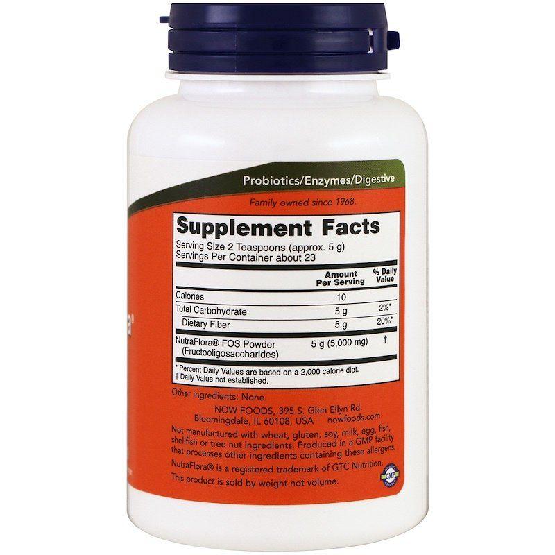 Фруктоолигосахариды, Nutra Flora FOS, Now Foods, 113 г