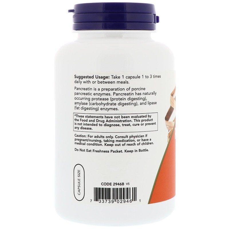 Панкреатин, Pancreatin, Now Foods, 10X 200 мг