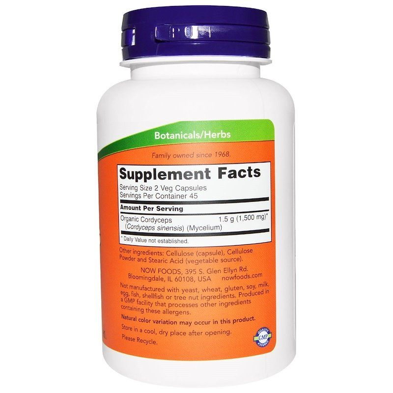 Кордицепс (Cordyceps), Now Foods, 750 мг, 90 капсул.