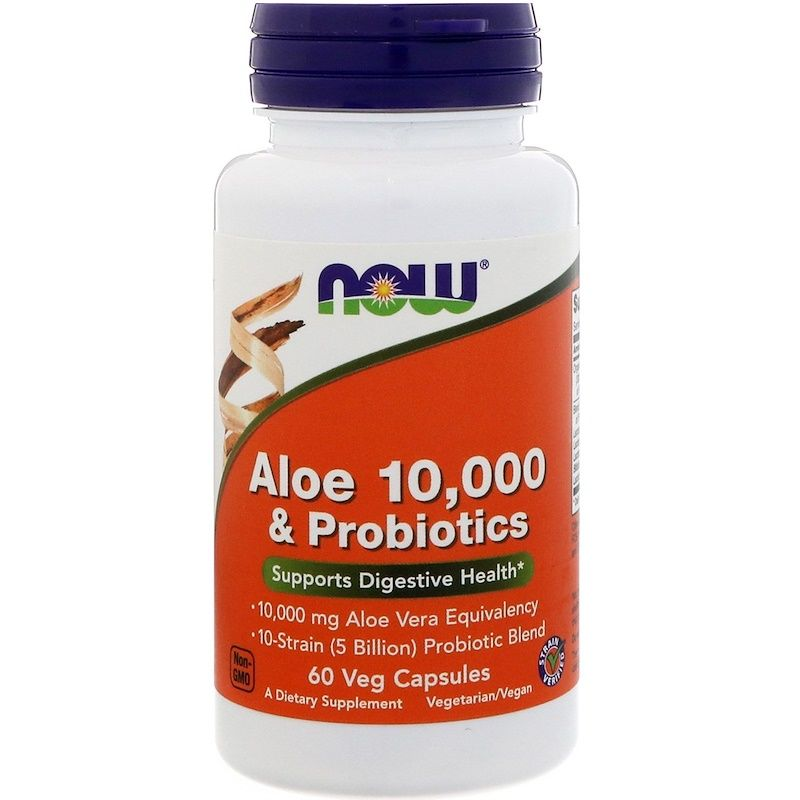 Алоэ вера 10000 и пробиотики, Aloe & Probiotics, Now Foods, 60 капсул