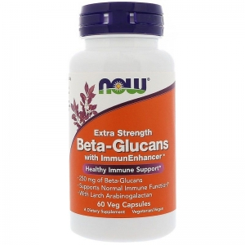 Бета глюкан, Beta-Glucans, Now Foods, 250 мг, 60 капсул