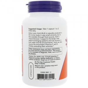 Альфа-липоевая кислота, Now Foods, 100 мг.