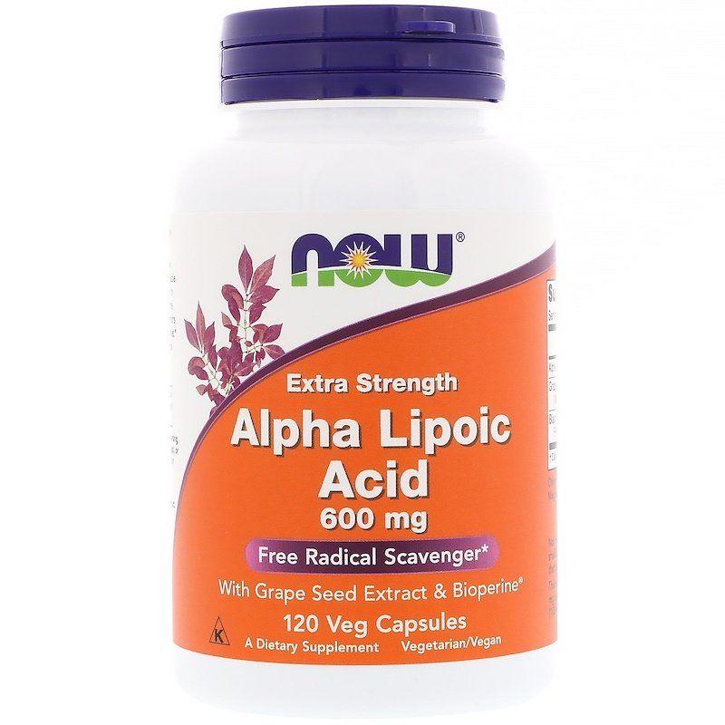 Альфа-липоевая кислота, Alpha Lipoic Acid, Now Foods, 600 мг, 120 кап.