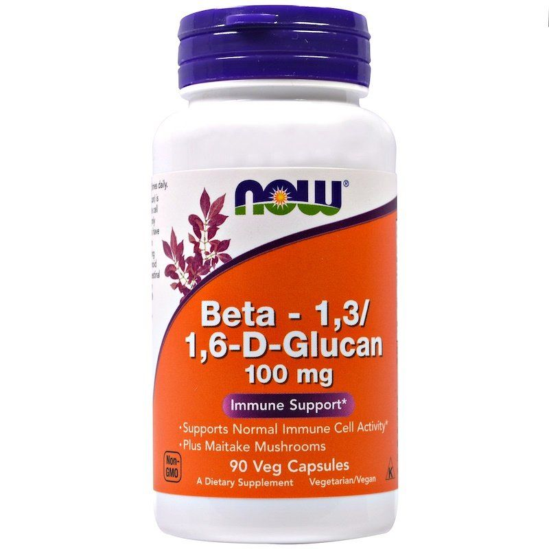 Бета глюкан, Beta-1,3 и 1,6-D-Glucan, Now Foods, 100 мг, 90 капсул