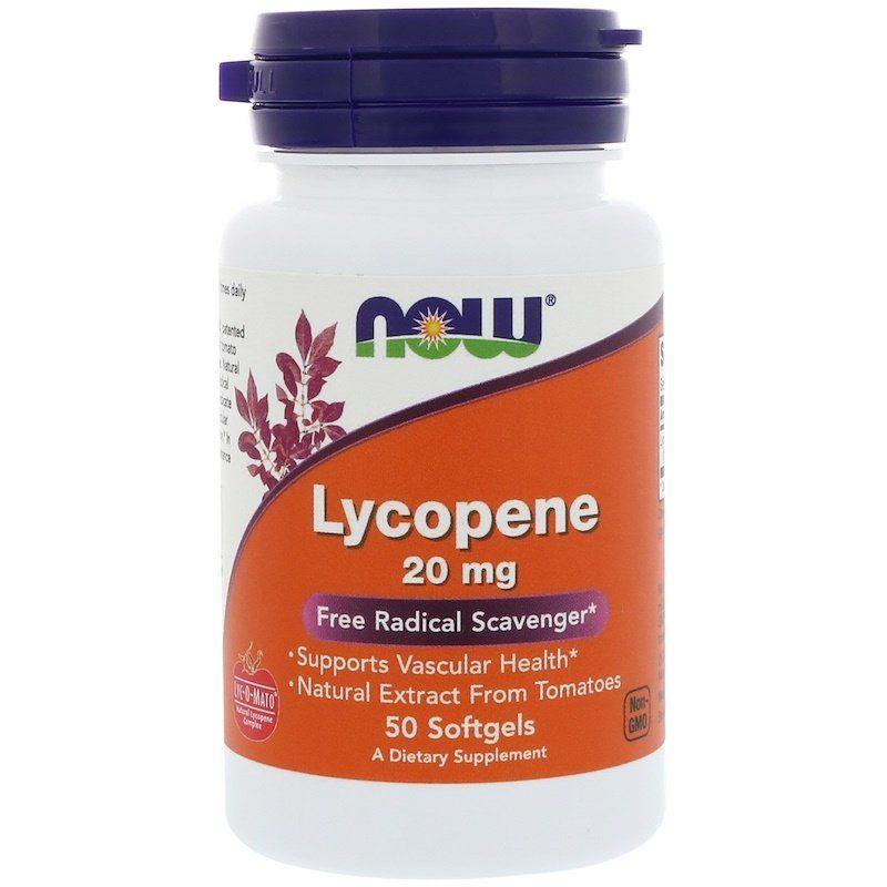 Ликопин (Lycopene), Now Foods, 20 мг, 50 гелевых капсул