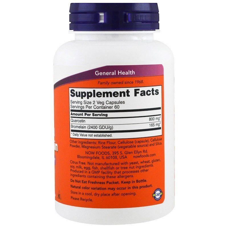 Кверцетин и бромелайн, Quercetin Bromelain, Now Foods, 120 капсул