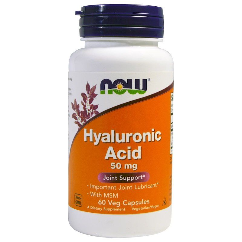 Гиалуроновая кислота и МСМ, Hyaluronic Acid, Now Foods, 50 мг, 60 капс.