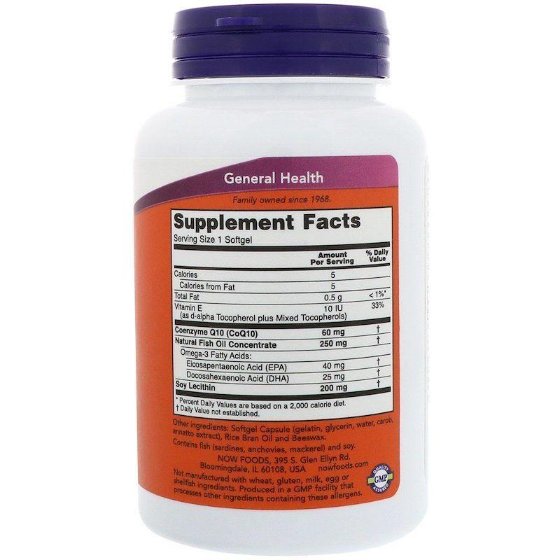 Коэнзим Q10 с рыбьим жиром, CoQ10, Now Foods, 60 мг 120 капсул