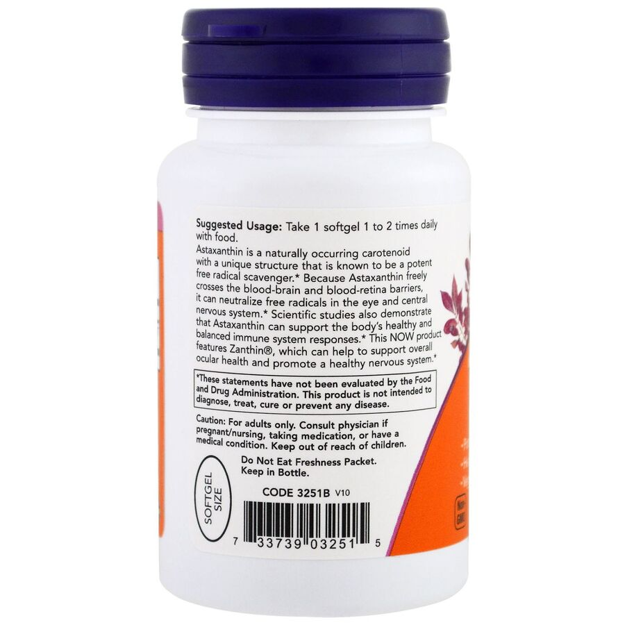 Астаксантин, Astaxanthin, Now Foods, 4 мг, 60 капсул